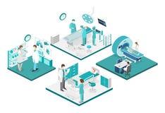 Isometrisk plan inre av sjukhusrum, apotek, kontor för doktors` som s väntar, mottagande stock illustrationer