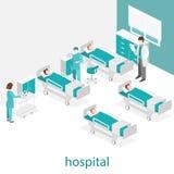 Isometrisk plan inre av sjukhusrum Doktorer som behandlar patienten Fotografering för Bildbyråer