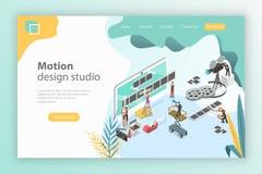Isometrisk plan mall för vektorlandningsida för rörelsedesignstudio royaltyfri illustrationer