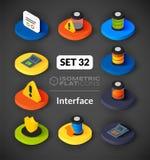 Isometrisk plan symbolsuppsättning 32 Royaltyfria Bilder