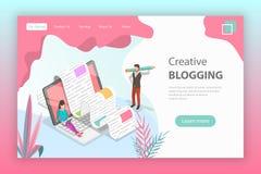 Isometrisk plan vektorlandningsida för idérik blogging royaltyfri illustrationer
