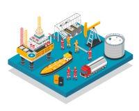 Isometrisk plattform för olje- gas vektor illustrationer