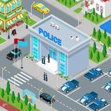 Isometrisk polisenbyggnad med polisen och polisbilen Arkivfoto