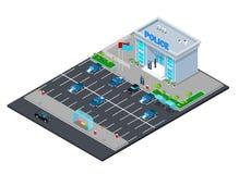 Isometrisk polisenbyggnad med polisen och polisbilen Arkivfoton