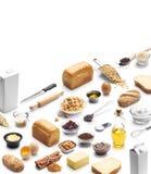Isometrisk presentation av att baka ingrediensen royaltyfria foton