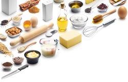 Isometrisk presentation av att baka ingredienser fotografering för bildbyråer