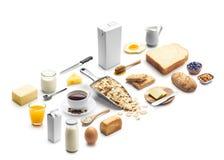 Isometrisk presentation av den sunda frukosten arkivfoto
