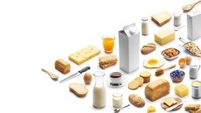Isometrisk presentation av den sunda frukosten arkivbilder