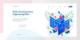 Isometrisk programmerare som kodifierar nytt projekt Rengöringsdukutveckling och programmeraexpertis för website RENGÖRINGSDUKban vektor illustrationer