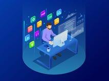 Isometrisk programmerare som kodifierar nytt projektsammanträde på datoren med kommandolinjen rengöringsdukutveckling som program stock illustrationer