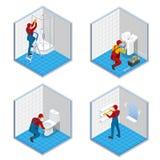 Isometrisk rörmokare eller arbetare med hjälpmedelbälteanseende i badrumuppsättningbegrepp Isometrisk vektor för badrumreparation vektor illustrationer