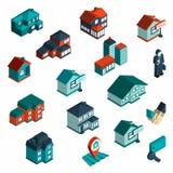 Isometrisk Real Estate symbol vektor illustrationer