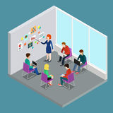 Isometrisk rengöringsduk för lägenhet 3d för grupp för instruktör för affärsutbildningsutbildning stock illustrationer