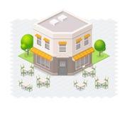 Isometrisk restaurangbyggnad Arkivbild