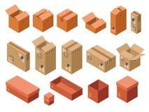 isometrisk sändningspackekartong stock illustrationer