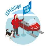 Isometrisk sammansättning för arktisk expedition royaltyfri illustrationer