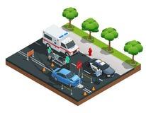 Isometrisk sammansättning för bilolyckor vektor illustrationer