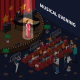 Isometrisk sammansättning för musikalisk afton stock illustrationer