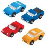 Isometrisk Sedan, sportbil, SUV och pickupvektorpacke stock illustrationer