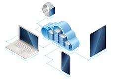 Isometrisk server i moln med grejer arkivfoton