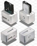 Isometrisk set av den externa vita HardDiskasken Royaltyfri Foto