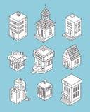 isometrisk set för byggnader Svartvit vektorillustration Arkivbild