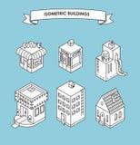 isometrisk set för byggnader Svartvit vektorillustration Royaltyfri Foto