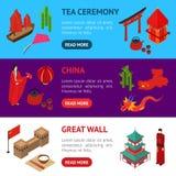Isometrisk sikt Kina för Touristic banerhorisontaluppsättning vektor Arkivfoto