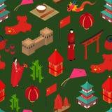 Isometrisk sikt Kina för Touristic sömlös modellbakgrund vektor Royaltyfri Bild