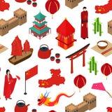 Isometrisk sikt Kina för Touristic sömlös modellbakgrund vektor Fotografering för Bildbyråer