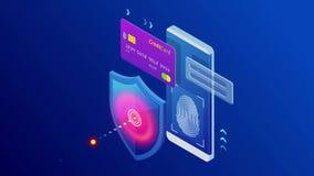 Isometrisk skyddsn?tverkss?kerhet och s?kert ditt databegrepp Webbsidadesignmallar Cybersecurity Digital brott royaltyfri illustrationer