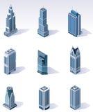 isometrisk skyskrapavektor för byggnader royaltyfri illustrationer