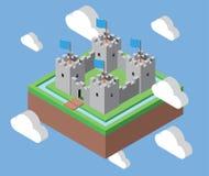 Isometrisk slott i molnen Royaltyfria Bilder