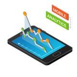 Isometrisk smartphone med grafer som isoleras på en vit bakgrund Mobilt analyticsbegrepp Isometrisk vektorillustration Royaltyfria Foton