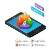 Isometrisk smartphone med grafer som isoleras på en vit bakgrund Mobilt analyticsbegrepp Isometrisk vektorillustration Fotografering för Bildbyråer