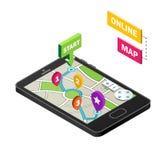 Isometrisk smartphone med stadsöversikten på en vit bakgrund Modern infographic mall Online-översikt, mobil navigering app Fotografering för Bildbyråer