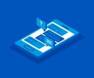 Isometrisk smartphonesymbol för vektor 3d begreppet frambragte digitalt högt samkväm för bildnätverksres abstrakt fönster för ill Royaltyfria Bilder