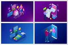 Isometrisk snabb hemsändning, online-leverans, online-shopping, begrepp för baner för finansinstrumentrengöringsduk modern vektor royaltyfri illustrationer