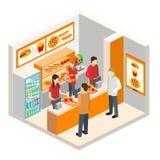 Isometrisk snabbmatrestaurang stock illustrationer
