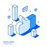 Isometrisk social marknadsföringslinje stilbegrepp Fotografering för Bildbyråer