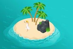Isometrisk sommarillustration med en paradisö för ett loppföretag, en semesterannonsering royaltyfri illustrationer