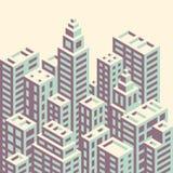 Isometrisk stad för Retro stil Arkivbild