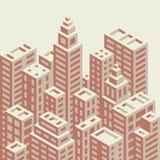 Isometrisk stad för Retro stil Arkivbilder