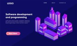 Isometrisk stad i violetta färger, 3d byggnader, modern stadgata, stads- vägarkitektur Ultraviolett illustration av isometry stock illustrationer