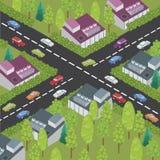 Isometrisk stad och väg Stock Illustrationer