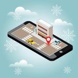 Isometrisk stad Snövinterdag Vänta på jul och nytt år Mobil geospårning översikt Stadsbyggnad och stock illustrationer