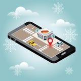 Isometrisk stad Snabbmatrestaurang, varmkorv i vinter Leverera för mat Mobilt sökande Geo spårning översikt Royaltyfri Fotografi