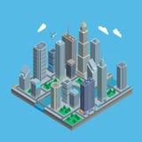 Isometrisk stads- stadsöversikt Vektor Illustrationer