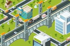 Isometrisk stadsbro Bilder för vektor för väg för rutt för översikt för landskap 3d för järnväg viadukt för drev stads- stock illustrationer