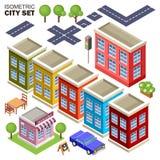 Isometrisk stadsuppsättning Arkivfoto